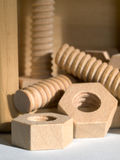 Wooden Nuts and Bolts Royalty Free Stock Photos