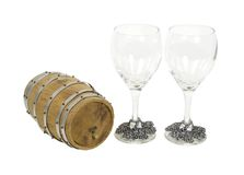 Wooden oak barrel and glasses Royalty Free Stock Photos