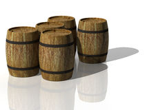 Wooden oak barrels. 3D render Stock Photos