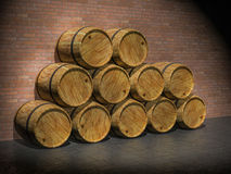 Wooden oak barrels. 3D render Royalty Free Stock Photography