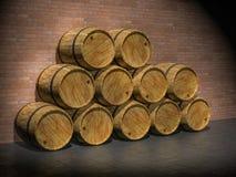 Wooden oak barrels. 3D render Royalty Free Stock Photography