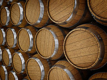 oak barrels stacked top. Wooden Oak Brandy Wine Beer Barrels Rows. Close Up Stock Image Stacked Top