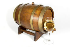 Wooden Oak Cask with Glass of White Wine Royalty Free Stock Photo