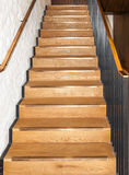 Wooden oak straight stairs Royalty Free Stock Images