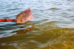Wooden oar paddle dipped in water in a rowing boat propelling forward.  royalty free stock images