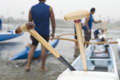 Wooden Oars On Outrigger Canoe Stock Images
