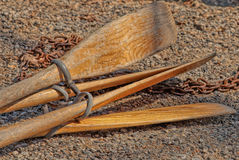 Wooden Oars for Rowboats Royalty Free Stock Photo