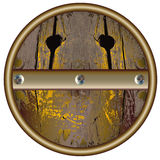 Wooden object resembling the lid of barrel. Wooden barrel with metal hoops and rivets Royalty Free Stock Images