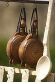 Wooden Objects. Handmade canteens and spoon made of wood Stock Photo