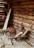 Wooden Objects Outside Forest Hut Royalty Free Stock Image
