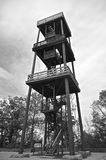 Wooden observation deck(black and white) Royalty Free Stock Photo