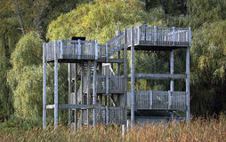 Wooden observation platform. In a nature preserve royalty free stock photography