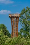 Wooden observation tower in nature reserve Kyritz-Ruppiner Heide stock image