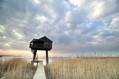 Wooden observation tower over sky Stock Images