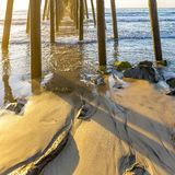 The wooden Oceanside pier in California at sunset royalty free stock image