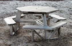 Wooden Octagon Shaped Picnic Table Stock Photography