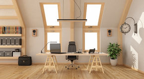 Wooden office in the attic Stock Image