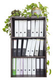 Wooden office cabinet with paper documents files Royalty Free Stock Images