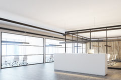 Wooden office with a white reception, corner Stock Photo