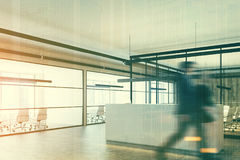 Wooden office, a white reception, corner, people Royalty Free Stock Photos