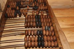 Wooden old abacus for math stock photo