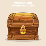 Wooden old antique treasure chest Stock Photos