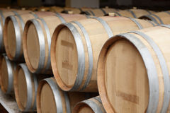 Wooden old barrels of wine Stock Photo