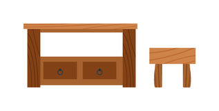 Wooden old brown table and wood desk surface retro flat vector isolated. Stock Image