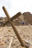 Wooden old christian religious cross at the Lipez ruins in Boliv Royalty Free Stock Images