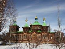 Wooden old church in Karakol, winter, Kyrgyzstan Stock Photography