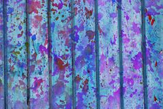Mixed media artwork, abstract colorful artistic painted layer in light blue, purple color palette on grunge texture planks royalty free illustration