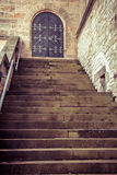 Wooden old door and steps royalty free stock photo