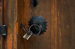 Wooden old doors and padlock, Bulgaria, Jeravna.  Stock Photography