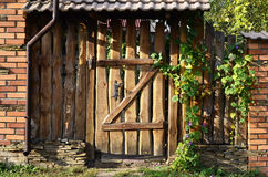 Wooden old fence with a wicket Royalty Free Stock Image