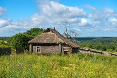 Wooden old house on a hill Royalty Free Stock Photo