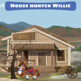 Wooden old house of the hunter and his horse Royalty Free Stock Photos
