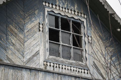 Wooden old house window. With broken glass Royalty Free Stock Photos