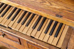 Wooden Old Piano Stock Images