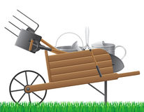 Wooden old retro garden wheelbarrow with tool vect Stock Photos