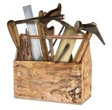 Wooden old rustic retro tool box. Wooden old rustic retro box filled with vintage hand tools isolated on white background do-it-yourself diy concept Stock Image