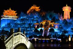 Wooden old town of Shangri La at night with colorful lights, Xianggelila, Zhongdian, of Yunnan, close to Tibet, China royalty free stock photos
