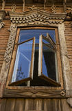 Wooden old window. Open old window royalty free stock images
