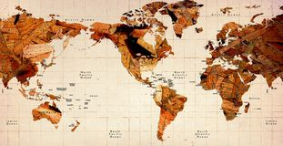 Wooden Old World Map. Wooden old Map stock images