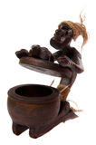 Wooden open ash tray like shaman figurine Stock Images