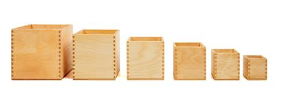 Wooden open boxes Stock Photo
