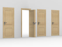 Wooden open door. 3D image Stock Photo