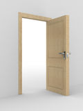 Wooden open door. 3D image Stock Images