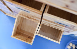 Wooden open drawer Stock Image