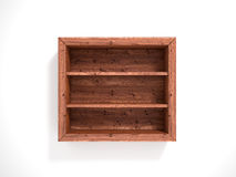 Wooden open in empty shelves. 3d illustration Stock Photography