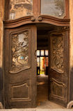 Wooden open pattern and old door Stock Images